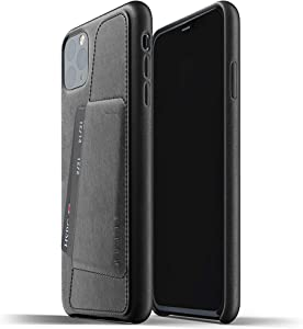 Mujjo Full Leather Wallet Case for Apple iPhone 11 Pro Max | 2-3 Card Holder Pocket | Premium Soft Supple Leather, Unique Natural Aging (Black)