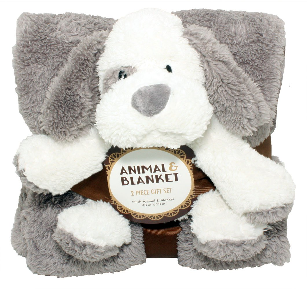 SILVER ONE Sherpa Plush Stuffed Animal and Throw Blanket 2 Peice Gift Set for Kids/Children | 40'' x 50'' Soft Plush Throw | Get Well Gift, Grey Dog