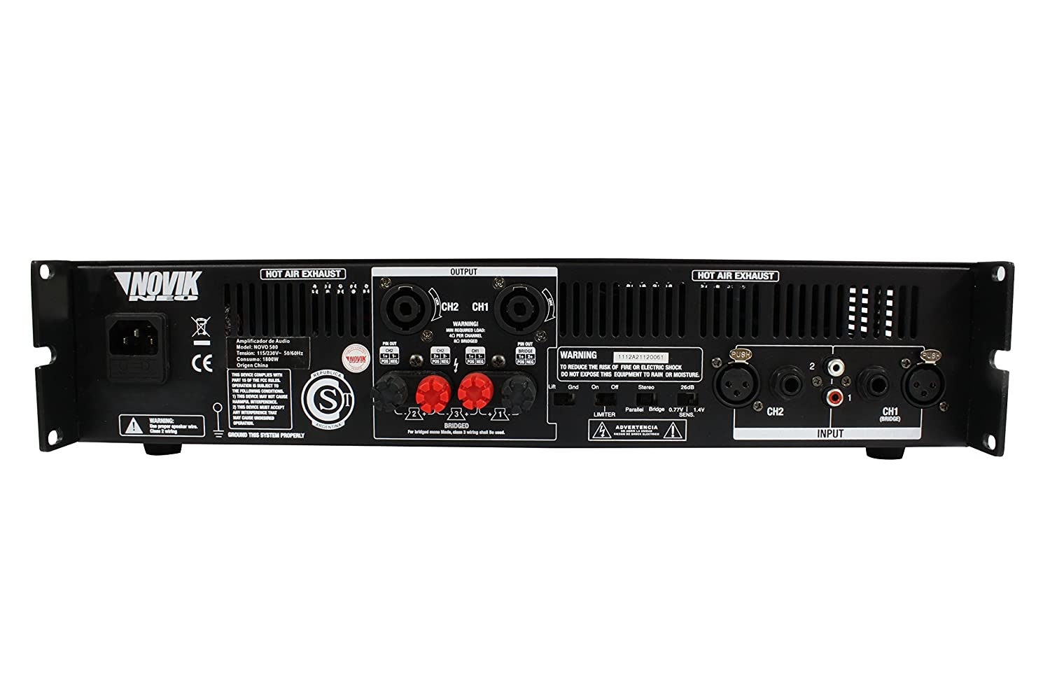 Amazon.com: NOVIK NEO NOVO 900 Power Amplifier 900-Watt RMS Screen channel temperature protect, clip and signal presence LED turbo cooling grilles: Musical ...