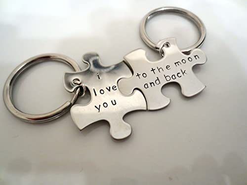 Amazon com: His and Hers Personalized Puzzle Piece Key chain