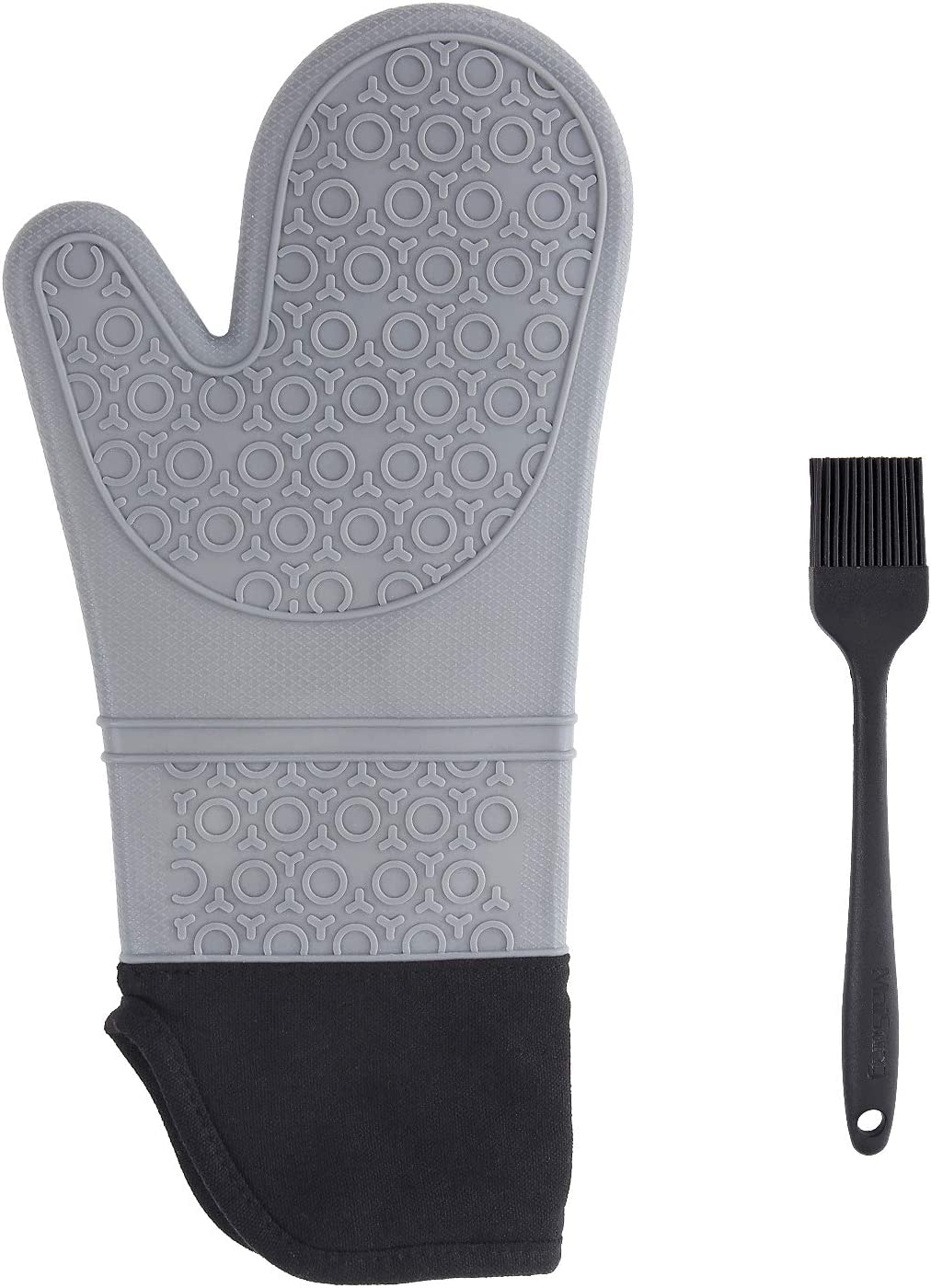 MaiSung Oven Mitt/Food Safe Oven Mitt/Silicone High Temperature Resistance/Suitable for a Variety of High Temperature Kitchen Appliances/Take Things Flexibly/Non-Slip/Equipped with an Oil Brush-Grey