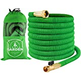 Garden Hose   50 Foot Green   Expanding Extra Strength Stretch Material  With Brass Connectors