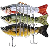 Lifelike Fishing Lures for Bass, Trout, Walleye, Predator Fish - Realistic Multi Jointed Fish Popper Swimbaits…