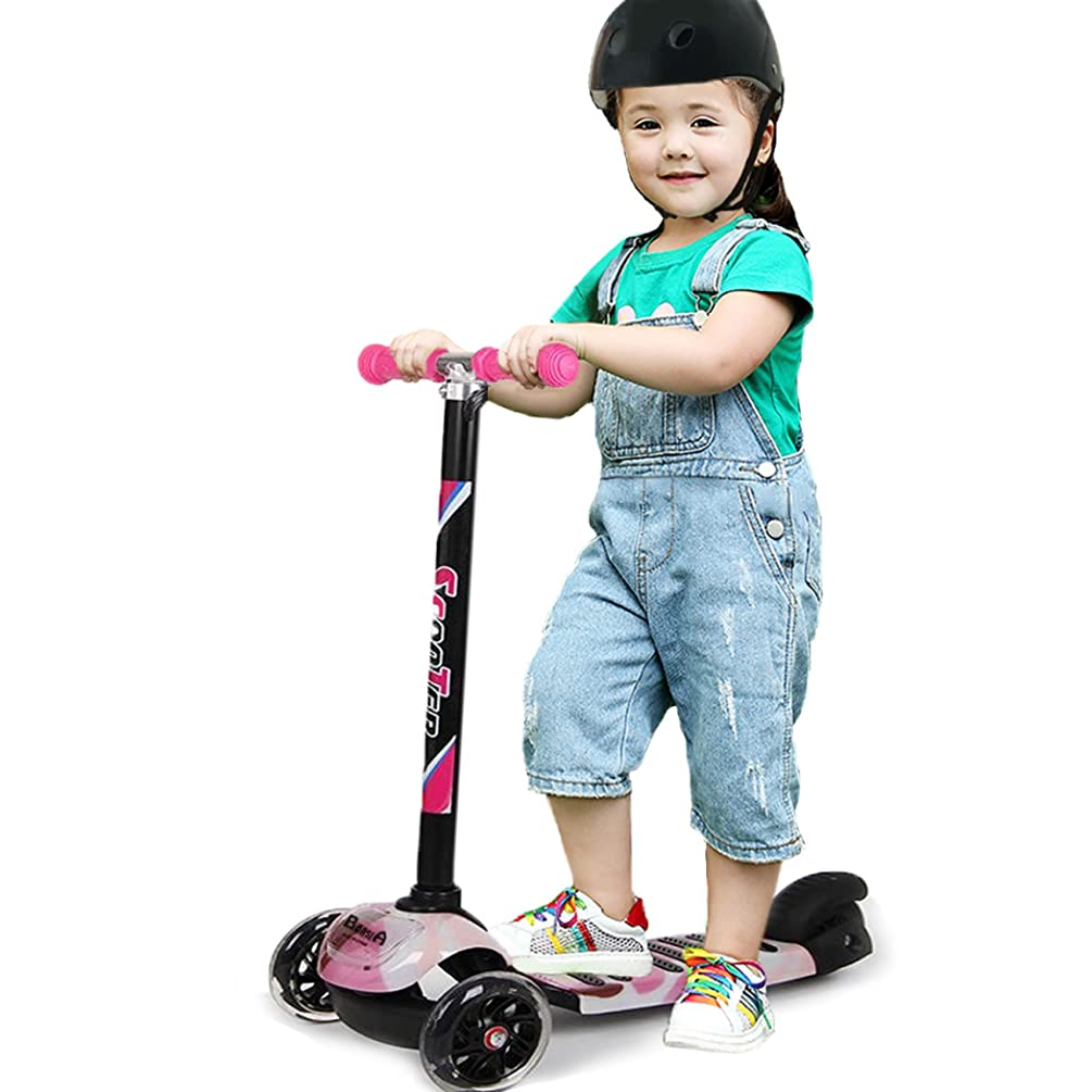 Kids Kick Scooters for Boys and Girls, Foot Push Scooter with 3 Big Wheels, Lean to Steer, Adjustable T-Bar Height Designed for 3-16 Years Old Toddler Children, Up to 130lbs �_�Blue�_�