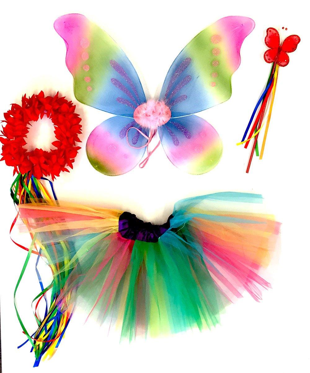 4-pi/èces D/éguisement de f/ée papillon Ailes Serre-t/ête et Jupe Baguette Blanc avec Serre-t/ête Tante Tina