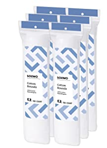 Amazon Brand - Solimo Cotton Rounds, 100ct (Pack of 6)