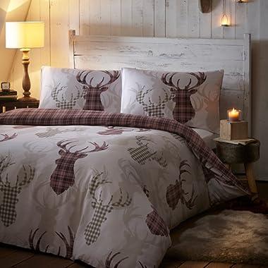 Portofino Tartan Check Stag Deer Animal Quilt Duvet Cover Bedding Set & Pillowcase UK King Natural