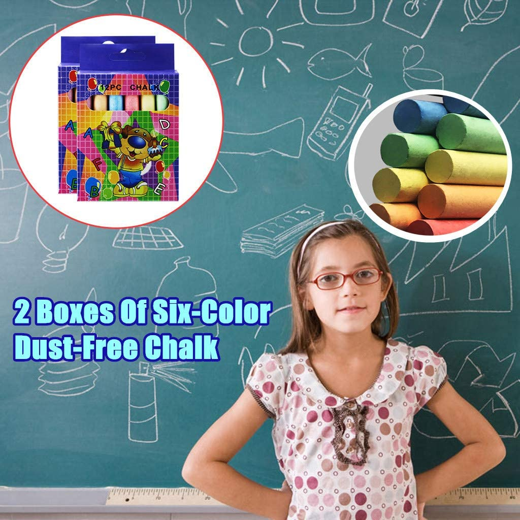 for Kids Toddlers Adult Outdoor Activities Side Walk Outside Driveway Art Floor Easter Street Chalk,Non-Toxic No Odor Washable Art Play 2 Pack 24 Pcs Shan-S Jumbo Sidewalk Chalk Sticks Set