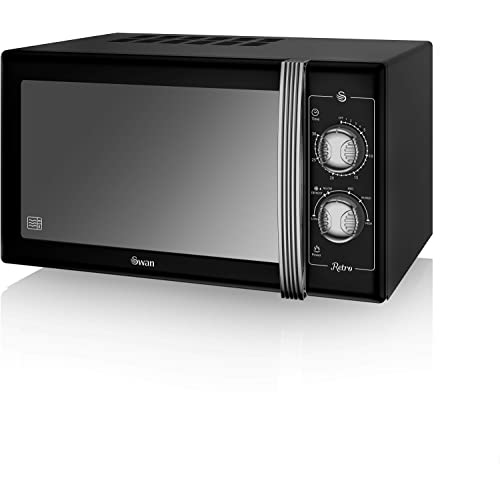 SWAN Retro Manual Microwave, 25 Litre, 900 W, Black