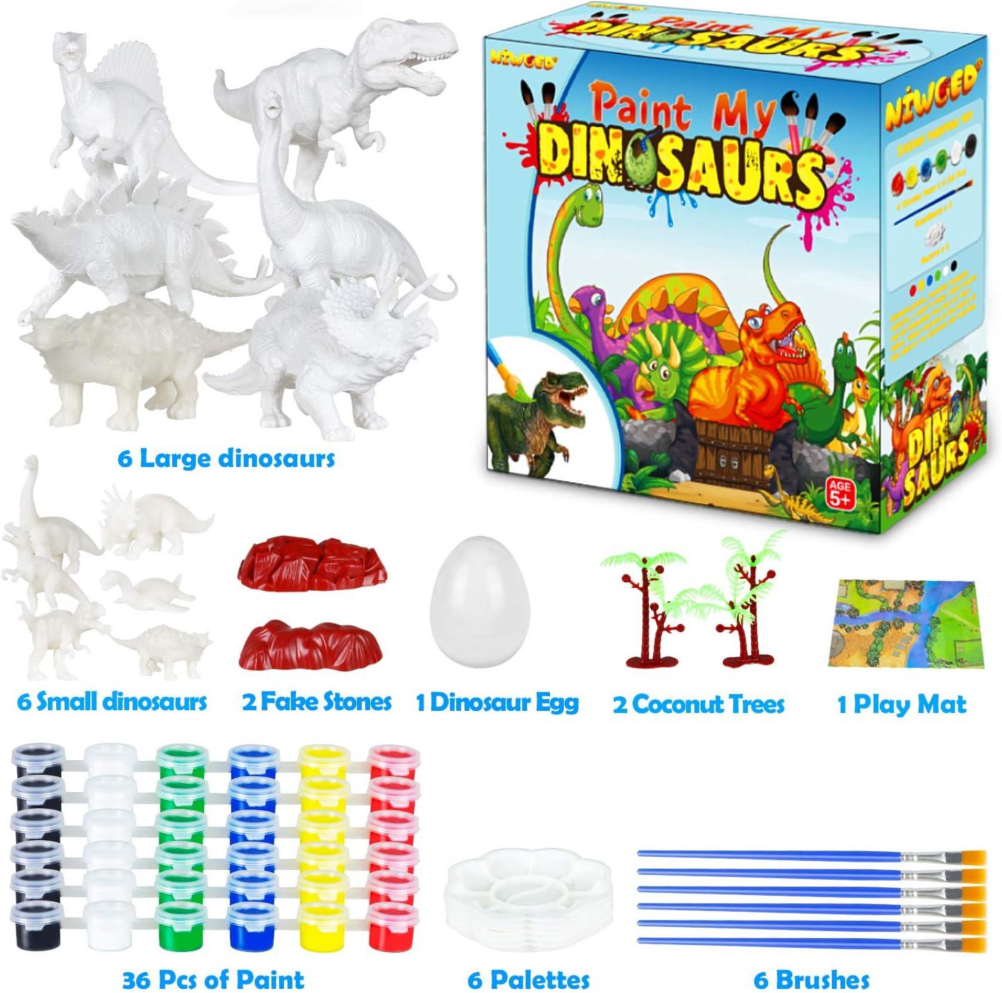 36Pcs Kids Crafts and Arts Set Dinosaur Painting Kit Animal Toy Art and