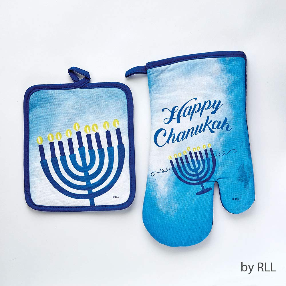 Pot Holders and Oven Mitts Chanukah Decoration - Sapphire Collection Design - Matching Oven Mitt Set, Great Hannukah Gifts, Chanukah Presents and Hanukkah Decorations