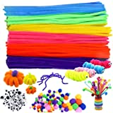 500Pcs Pipe Cleaners Craft Set,Including 100 Pcs Chenille Stems 200 Pcs Pom Poms Craft 200 Pcs Wiggle Googly Eyes Self…