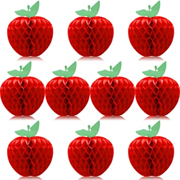 10 Packs Honeycomb Tissue Paper Apple Hanging Paper Apple Fruit Decoration For School Garden Room Party Decorations Red 4 Inch