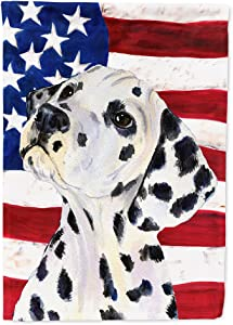 Caroline's Treasures SS4018GF USA American Flag with Dalmatian Flag Garden Size, Small, Multicolor