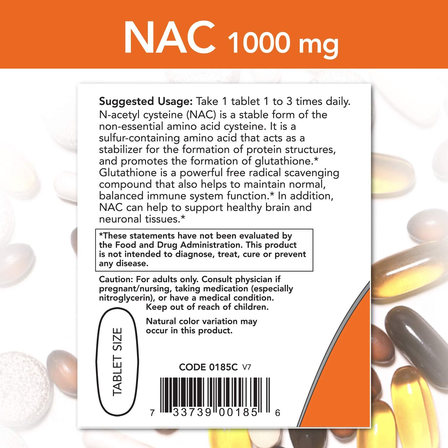 NOW Foods Supplements, NAC (N-Acetyl-Cysteine) 1,000 Mg, Free Radical Protection, 120 Tablets: Health & Personal Care