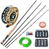 Yinglaite Fly Canne à pêche et moulinet de pêche–2,7m, avec canne à pêche à la mouche mouches et coque