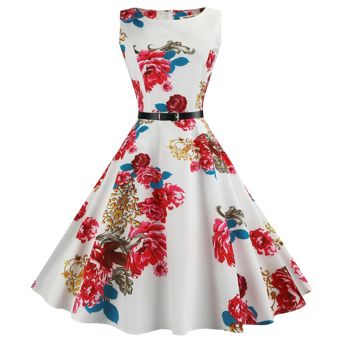 BOOMJIU Women Vintage Dress Hepburn Style Retro Sleeveless Printed Belt Slim Dress