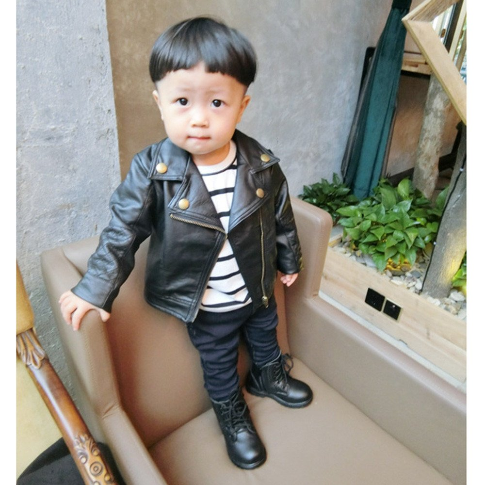 e48b97a37 Amazon.com: Tronet Kids Infant Toddler Unisex Baby Boys Autumn Coats  Leather Jacket Outerwear Warm Thick Clothes Outfits: Clothing