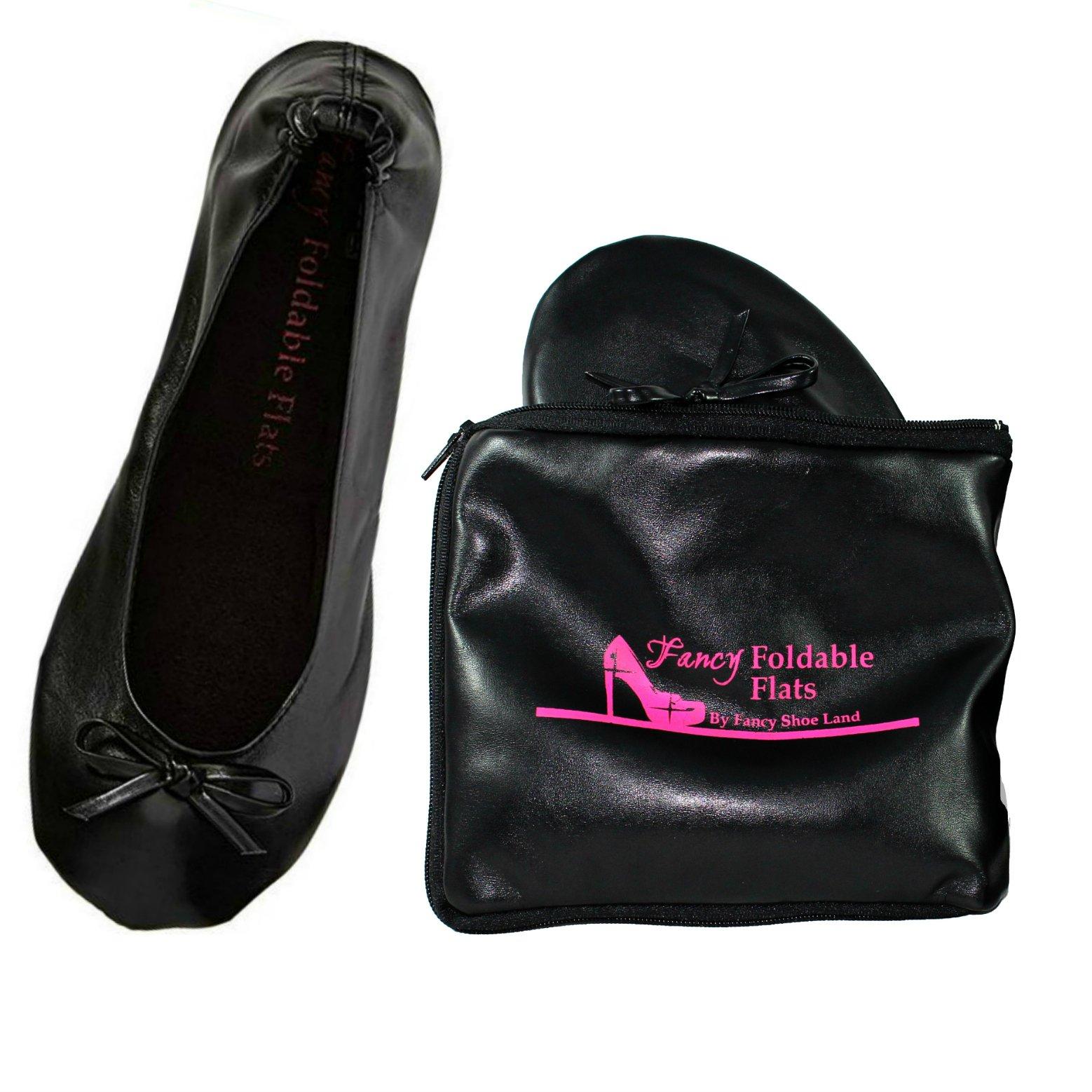 Fancy Shoe Land Foldable Ballet Flats Expandable Tote Bag for High Heels Black Travel Fold up or Folding Shoes
