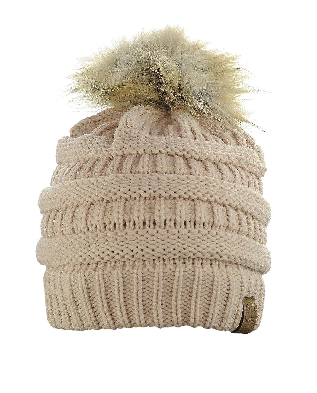 NYFASHION101 Exclusive Soft Stretch Cable Knit Faux Fur Pom Pom Beanie Hat