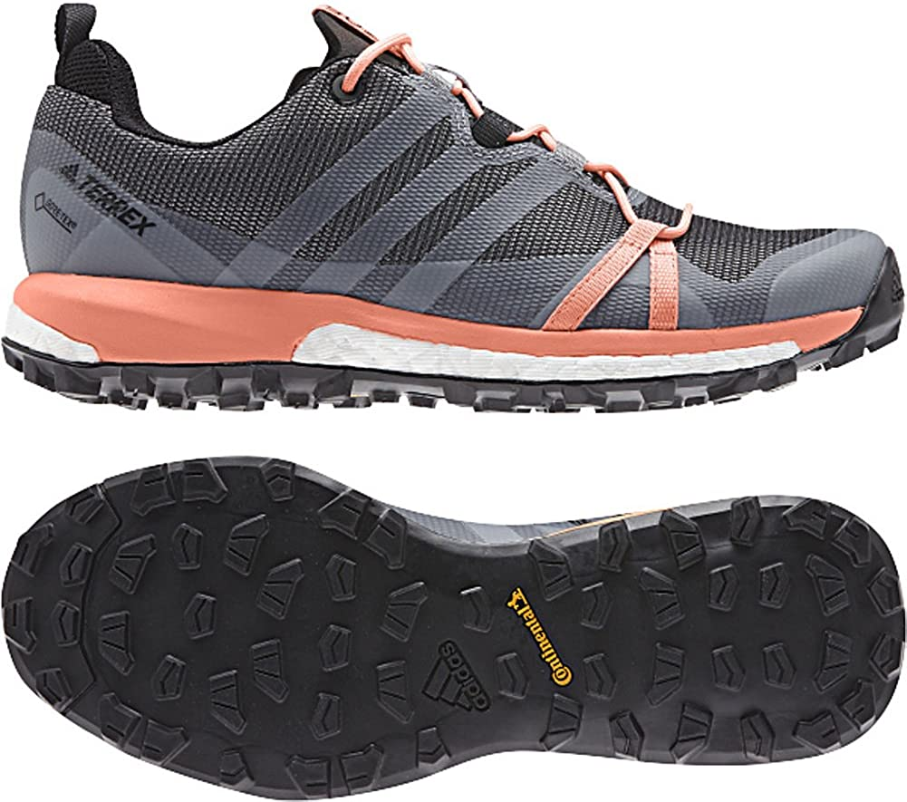 adidas Terrex Agravic GTX Shoe - Women's Trail Running 9.5 Grey/White/Chalk  Coral