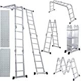 Comie 330lb 12.5ft/15.5ft Multi Purpose Aluminum Folding Step Ladder Foldable Lightweight Scaffold Ladder W/2 Plate (12.5ft)