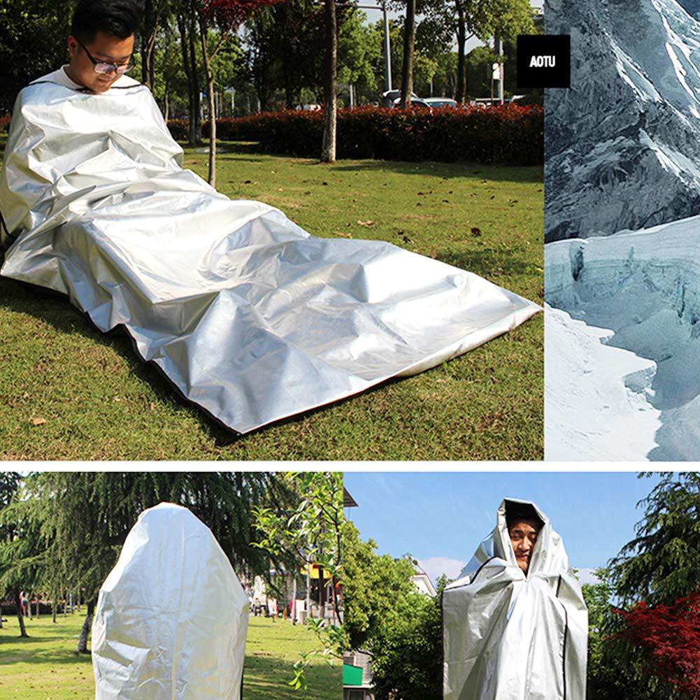 Yililay Outdoor-Schlafsack 4 Schicht Notfallschlafsack Reflektierende Aluminiumfolie Camping Wandern Schlafsack