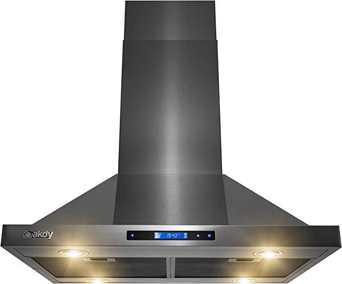 AKDY Island Mount Range Hood - Black Stainless Steel Hood for Kitchen – 3 Speed Professional Quiet Motor - Premium Touch Control Panel - Minimalist Design (30 in.)