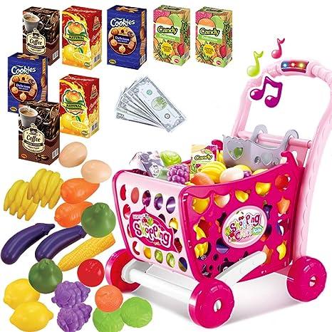 Carrito de compras Juego de roles Juguete con frutas vegetal accesorios Música y luz para niños