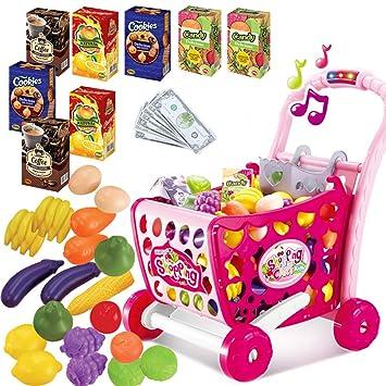 Carrito de compras Juego de roles Juguete con frutas vegetal accesorios Música y luz para niños,rosa: Amazon.es: Juguetes y juegos