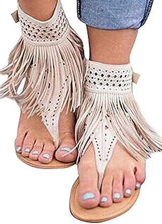 c22511b14 Amazon.com  Ru Sweet Womens Suede Tassels Thong Flat Sandals Flip Flops  Fringe Shoes  Clothing