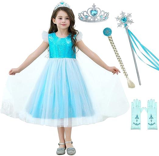 Child/'s Light Blue Lined Silver Cloak Cape Frozen Princess Elsa Costume L-XL