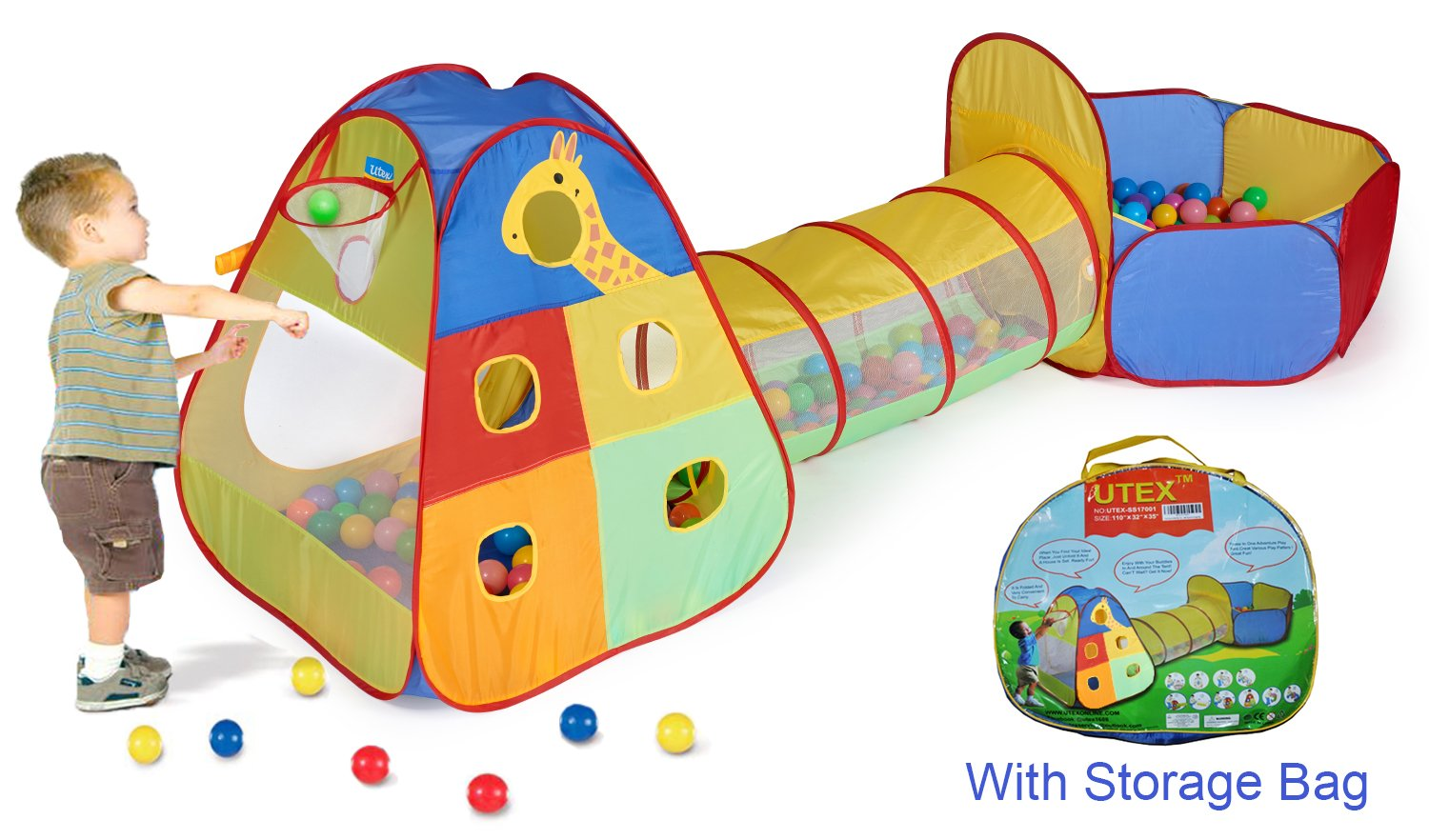 UTEX 3 Kids Play Tent and Tunnel