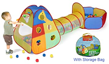 UTEX 3 in 1 Pop up Kids Play Tent with Tunnel and Ball Pit for Boys  sc 1 st  Amazon.com & Amazon.com: UTEX 3 in 1 Pop up Kids Play Tent with Tunnel and Ball ...