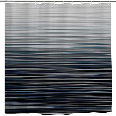 BROSHAN Modern Decor Shower Curtain Fabric,Ombre Stripe Personalized Abstract Striped Creative Bath Curtain Art Printing,Waterproof Bathroom Accessories Set with Hooks,72x72 Inch,Blue Grey