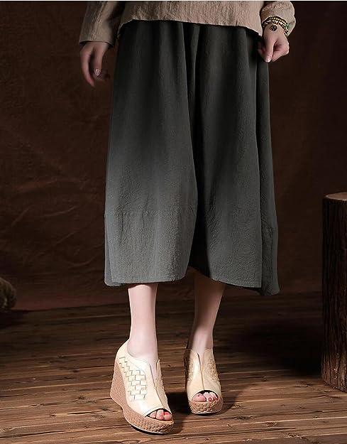 El Verano Original de Las Mujeres fijó Mocasines del pie el Estilo étnico Sandalias de Cuero Tejidas a Mano Sandalias de la Cuña del Peep Toe del Talón del ...