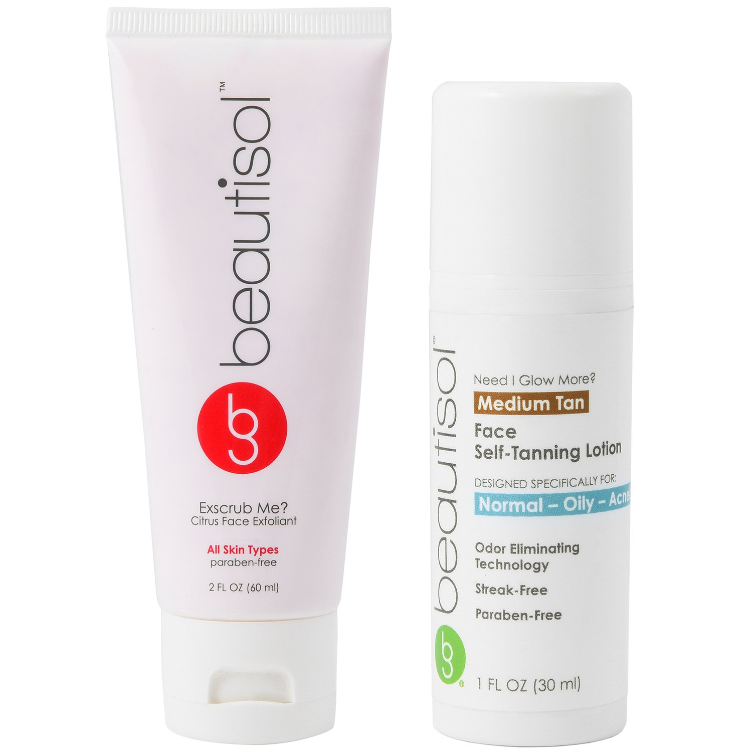 Beautisol Sunless Face Tanner & Exfoliation Kit for Dry Skin by Beautisol
