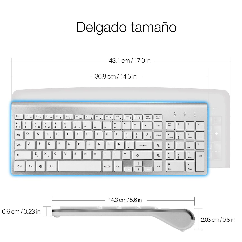 JOYACCESS Pack de Teclado y Ratón Inalámbricos Multimedia compactos Teclado Wireless Silenciosa y Ratón-Blanco+Plata (QWERTY español, 2,4GHz): Amazon.es: ...