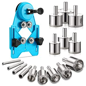 Hole Saw Set ,16 PCS Diamond Drill Bit Set with Hole Saw Guide Jig Fixture, Adjustable Hole Saw Centering Locator Suction Holder for Glass,Ceramics,Tile 1/1.2/1.6/2/2.4/2.8/3.15 inch Coated Core Drill Bits