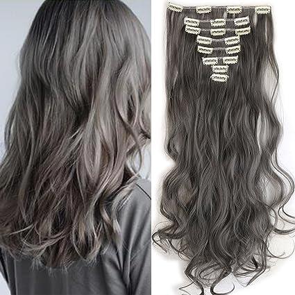 Extensiones en clip como cabello real, piezas de pelo, 8trencillas, extensió