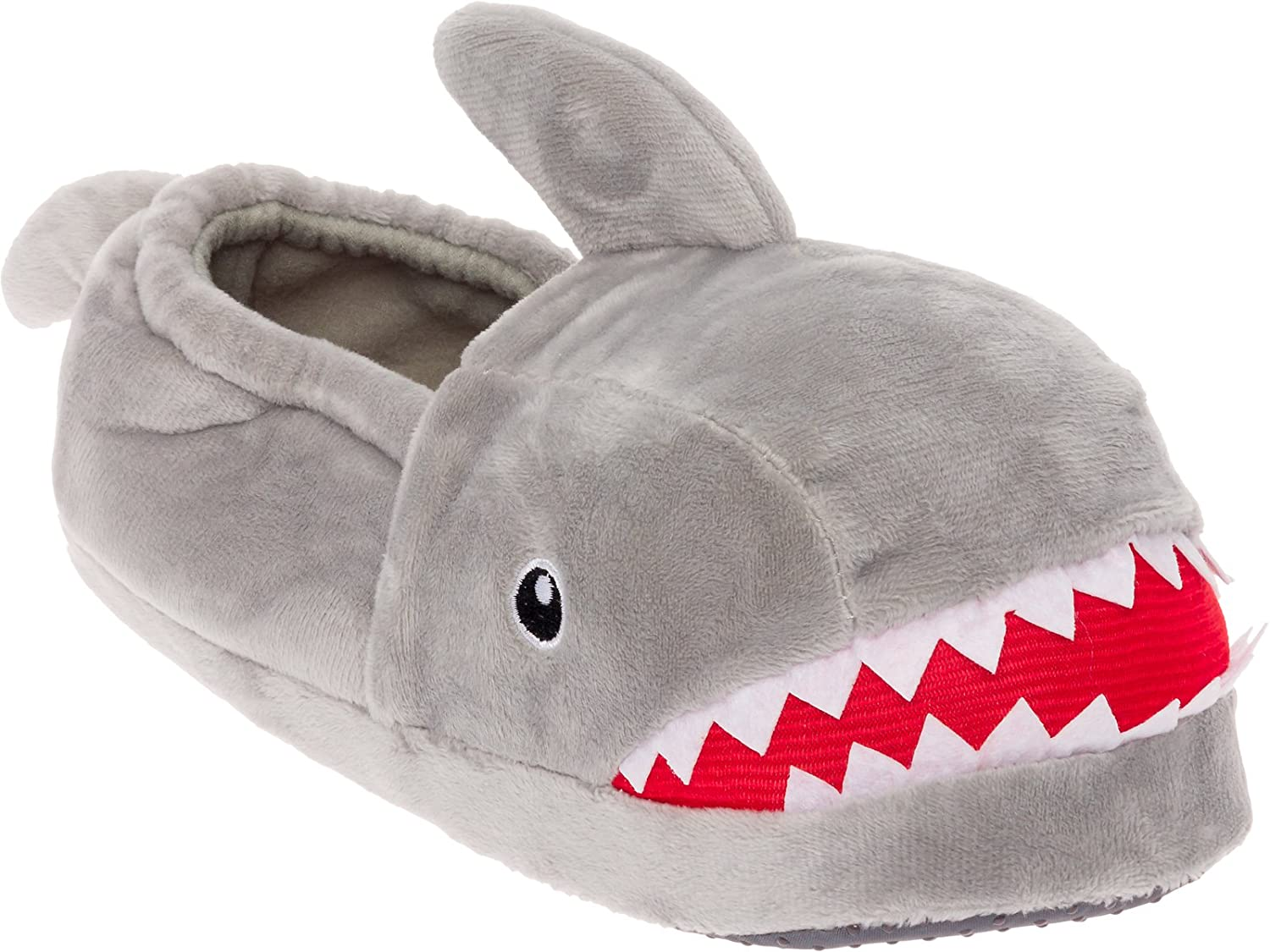 Silver Lilly Shark Plush Slippers - Novelty Animal Slippers w/Foam Support