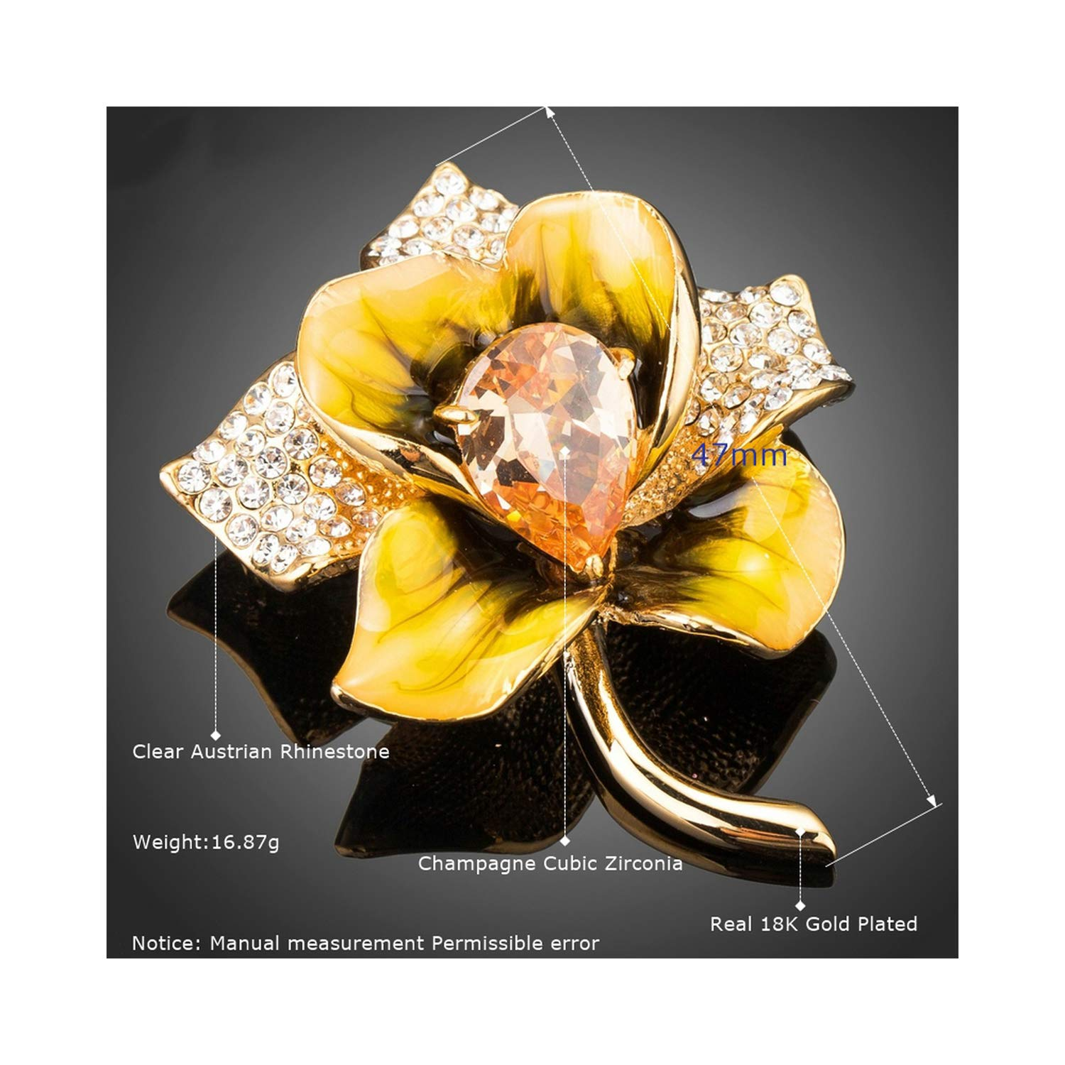 AUDIDI Brooches Pins, New Arrivals Champagne Zircon Crystal Paved Oil Painting Pattern Gold Color Flower Shape Brooches for Women Gifts TP0070