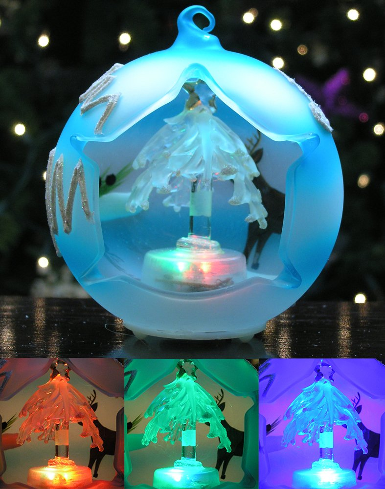 Christmas Globe Ornament - LED Lighted Glass Ball Ornament with Hand Painted Holiday Designs - Glass Tree
