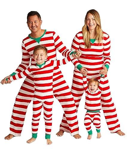 MAXMODA Pyjamas Langarm Nachtwäsche Xmas Streifen Schlafanzug Sleepwear Sweater Set Familie Kleidung Damen Herren Kinder Mädc