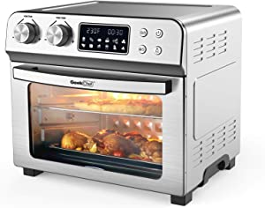 Geek Chef Electronic Convection Air Fryer Toaster Oven, LCD 6 Slice Toaster Airfryer Countertop Oven Roast, Bake, Broil, Reheat, Fry Oil-Free Accessories & Recipes Included Stainless Steel, Silver 24 Quart