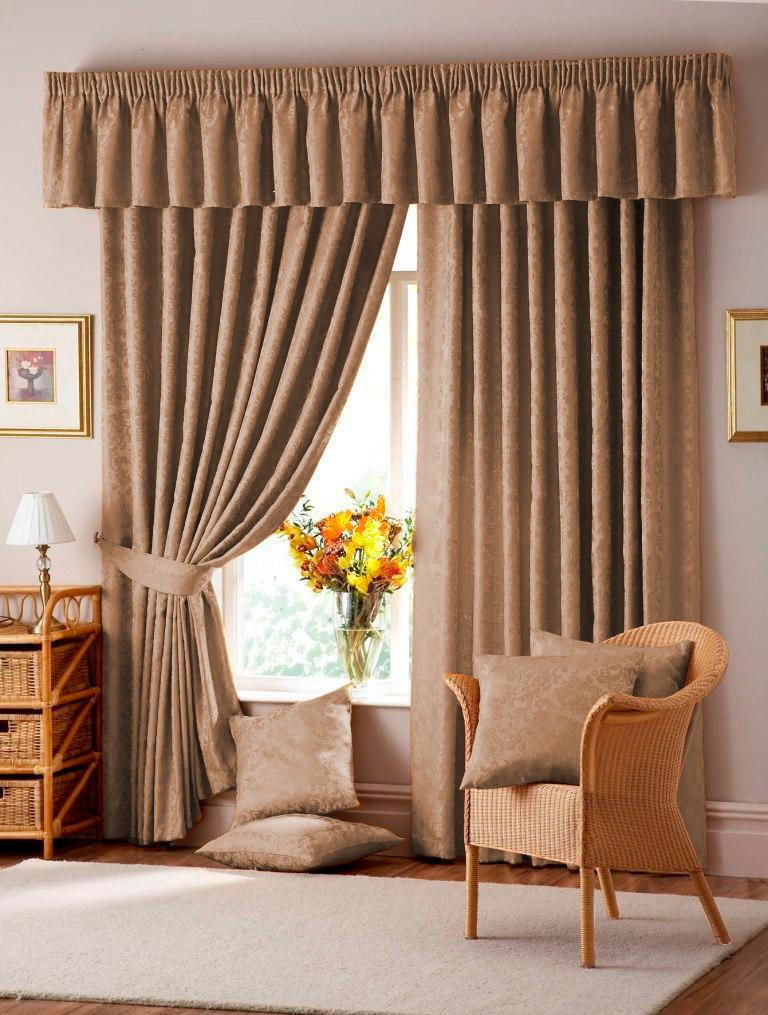 Lana Mocha 46117cm Wide X 48122cm Drop Floral Damask Jacquard 3 Tape Top Lined Curtains Amazoncouk Kitchen Home