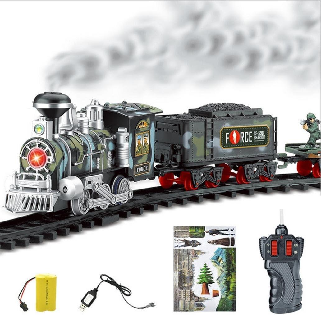 Tren de control remoto, AmaMary Transporte de Control remoto Car Electric steam smoke RC set de tren modelo de Juguete de Regalo (C)