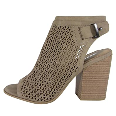 FL57 Women's Perforated Backless Side Zipper Stacked Heel Ankle Booties
