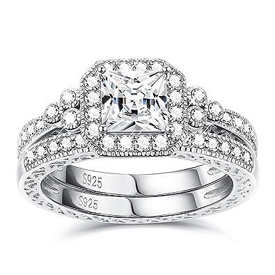 18e48e571 Sllaiss Sets with Swarovski Zirconia Sterling Silver Antique Ring for Women  Princess-Cut CZ Wedding