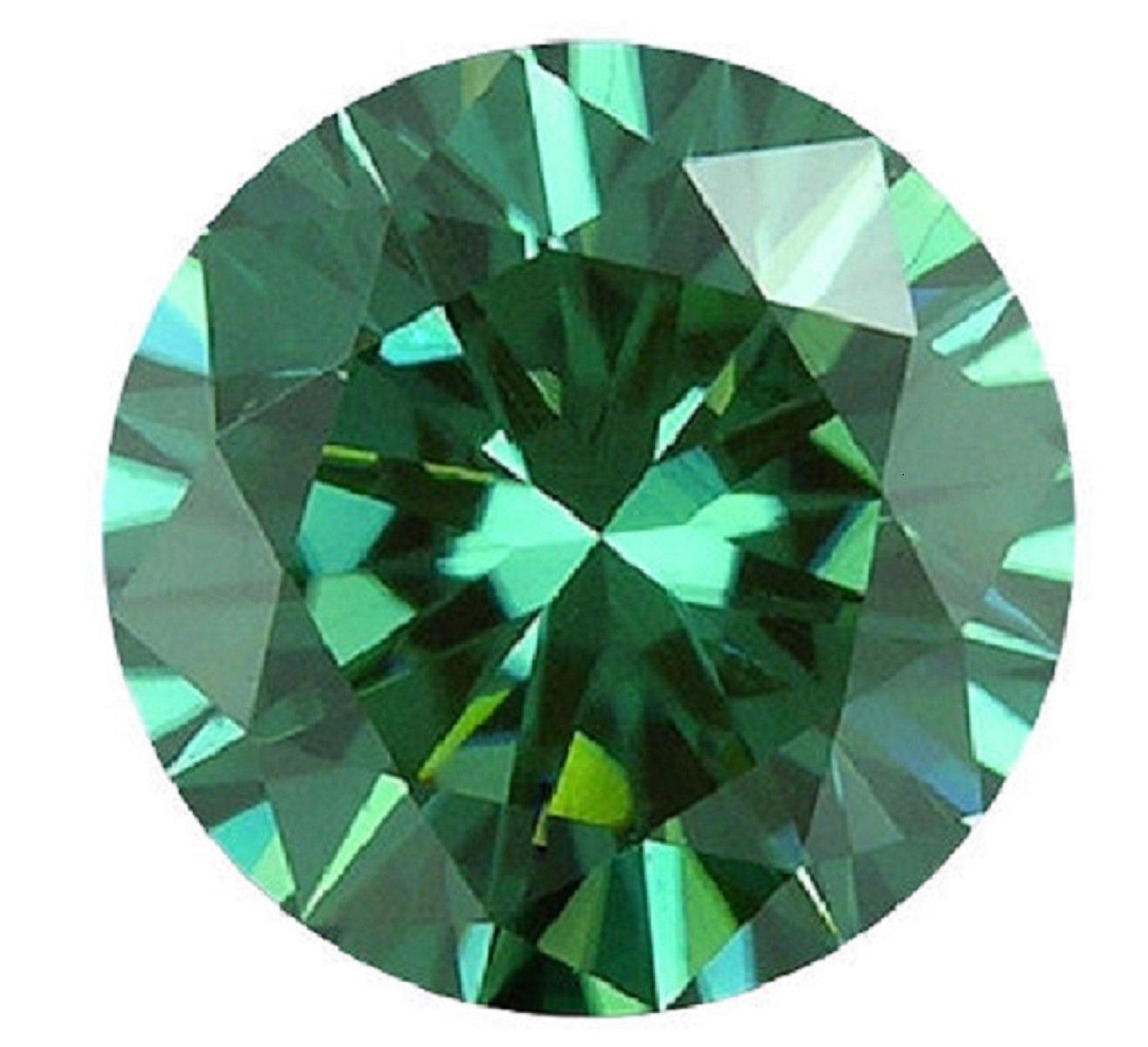 Arya's creation Moissanite Diamond, Loose Round Genuine Tested Moissanite, brilliant cut, green -blue color 0.5carat to 10carat (1.75)